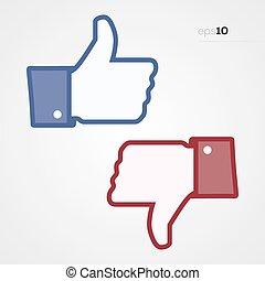 derned, sociale, oppe, tommelfingre