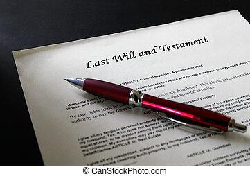 dernières volontés, document légal, et, stylo