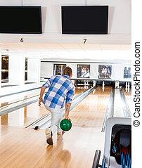 dernier, épingle, ruelle, aller, bowling, homme