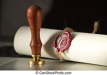 dernier, bois, testament, volonté, juge, marteau, document