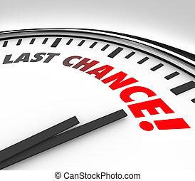 dernier, horloge, compte rebours, chance, date limite, temps...