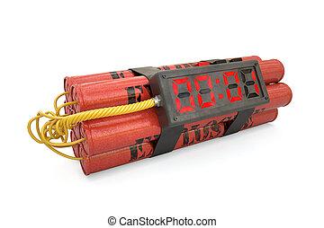 dernier, horloge, reveil, isolé, détonateur, seconde, wh, explosifs