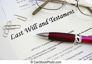 dernier, testament, volonté, etc, stylo, documents