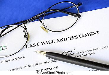 dernier, testament, volonté