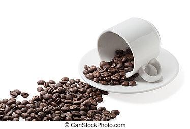derramado, feijões, coffe, cup.