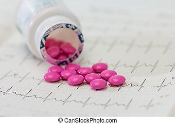 derramado, píldora, bottle., píldoras, medicina