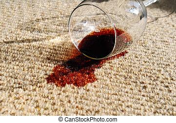 derramado, vinho, tapete