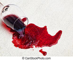derramado, vinho, tapete vermelho