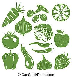 derrata alimentare, set, verde, icone
