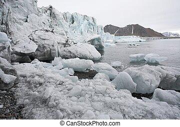 derretendo, ártico, geleira