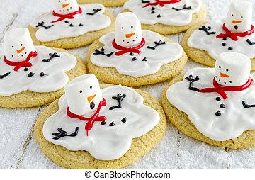 derretendo, bonecos neve, decorado, açúcar, biscoitos