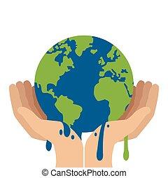 derretendo, planeta, segurando, mãos, terra, ícone