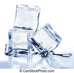 derretimiento, cubos, tres, hielo