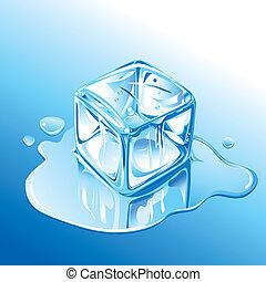 derretimiento, hielo azul, cubo