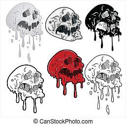 derretimiento, vector, cráneos, ilustración