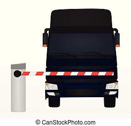 derrière, camion, barrière