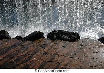 derrière, chute eau