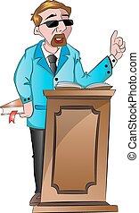 derrière, homme parler, illustration, podium
