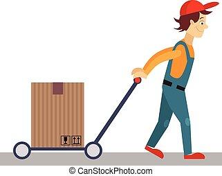 derrière, illustration, livraison, lui, vecteur, charrette, homme