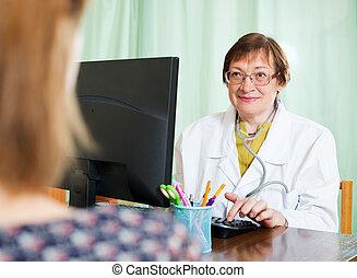 derrière, informatique, patient, docteur mûr