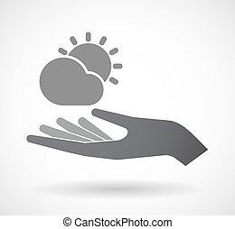 derrière, main, soleil, isolé, briller, nuage