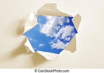 derrière, papier, ciel, trou, nuageux