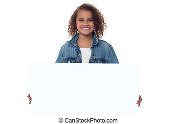 derrière, peu, whiteboard, girl, vide