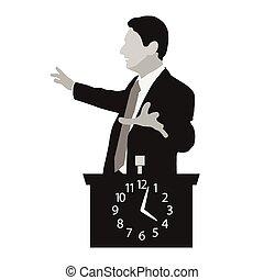 derrière, podium, orateur, stands, horloge