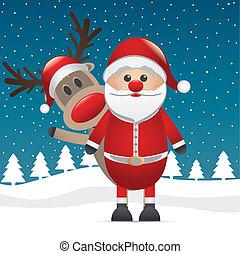 derrière, renne, nez, santa, rouges
