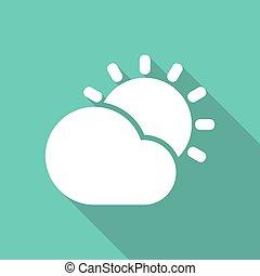 derrière, soleil brille, nuage, illustration