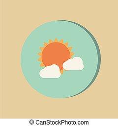 derrière, soleil, icône, temps, cloud.