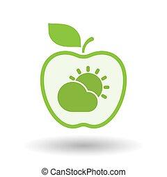 derrière, soleil, isolé, briller, nuage, pomme