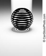 derrière, sphère noire, blanc, plat, lumière, plastique, résumé, 3d, réflecteur, strié, plancher