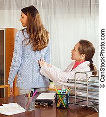 derrière, toucher, patient, adolescent, docteur