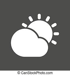 derrière, vecteur, soleil, isolé, briller, nuage, illustration