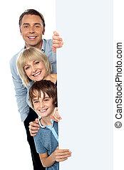 derrière, whiteboard, trois, famille, vide
