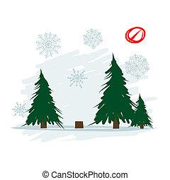 derribado, árbol, en, bosque, vector, ilustración