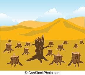 derribado, madera
