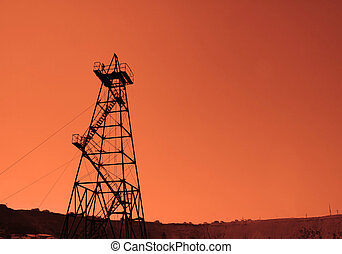 derrick óleo, durante, pôr do sol, -, azerbaijão, baku