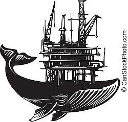 derrick, baleine, huile