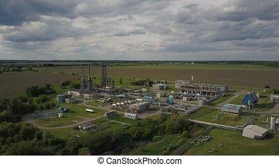 derrick, et, raffinerie pétrole, -, usine pétrochimique