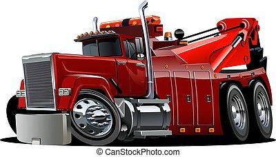 derrick, grand camion, remorquage, dessin animé