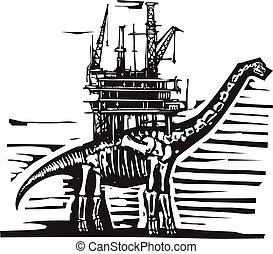 derrick, huile, brontosaure