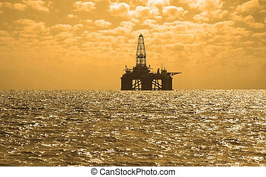 derrick, huile, caspian, azerbaïdjan, coucher soleil, mer, ...