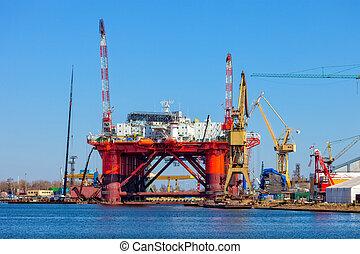 derrick, huile, chantier naval