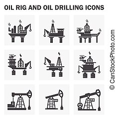 derrick, huile, icônes