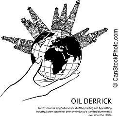 derrick, huile, main