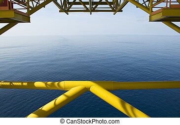 derrick, huile,  océan, vue