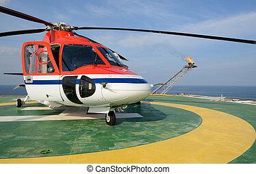derrick, huile, parc, hélicoptère