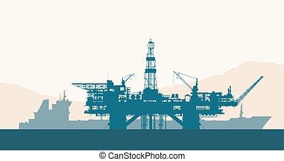 derrick, pétrolier, forage huile, mer